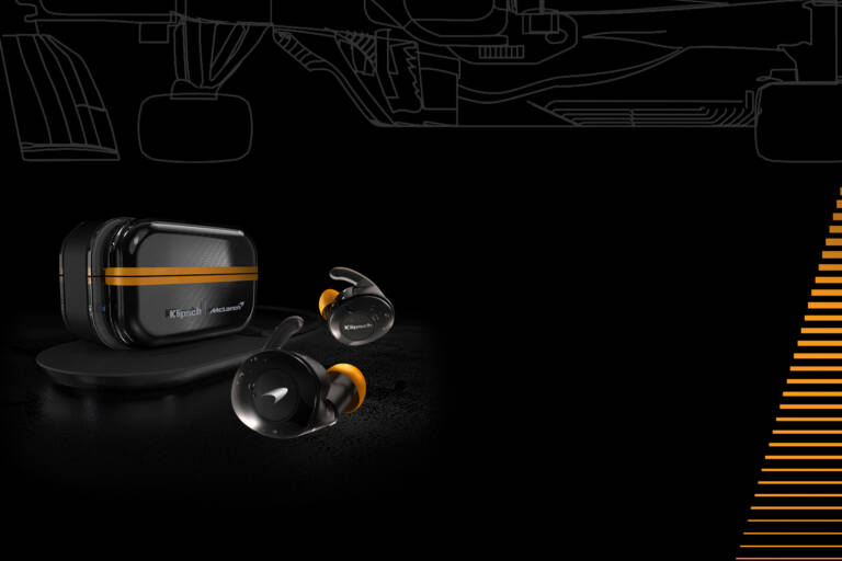 Klipsch T5 II True Wireless Sport McLaren Edition Earphones under a Formula 1 Car line drawing Desktop