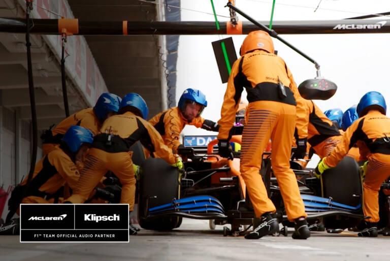 McLaren pit crew in action Klipsch is an F1 Team Official Audio Partner Desktop